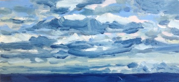 West, South Beach, Oil on Board, 30x14cm $300