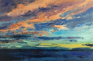 And the night comes on (II) West, South Beach Harvey Mullen Oil on Board, Sold